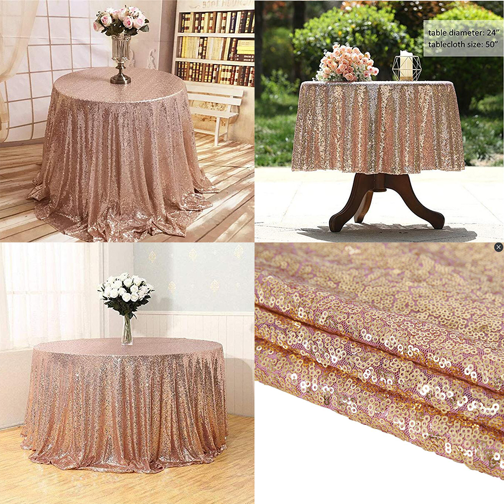 """50/""""x50/"""" Square Sequin Tablecloth Wedding Party Birthday Banquet Table Cover"""