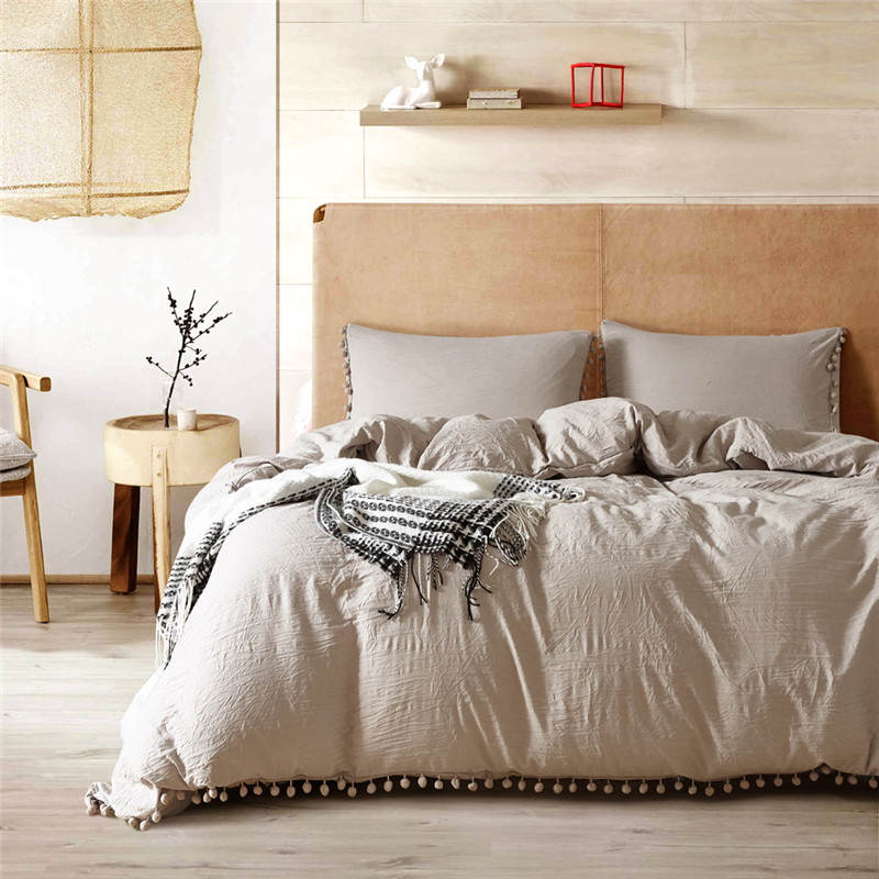 Beige Stone Washed Bedding USA Size Duvet Cover Set Ball Decoration Bedding Sets Bedclothes Twin Full Queen Double King