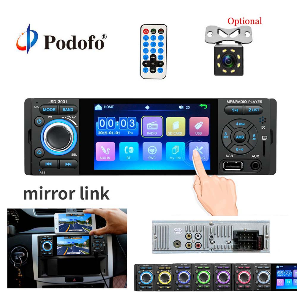 Podofo 4″ Touch Screen Bluetooth Car Radio 1 Din Mirror Link Autoradio Stereo Audio MP5 Video Player USB MP3 TF JSD-3001 Radio