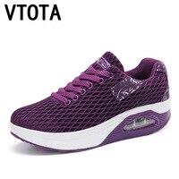VTOTA Platform Wedges Shoes Air Mesh Lace Up Women Sneakers Spring Summer Shoes High Heel Women