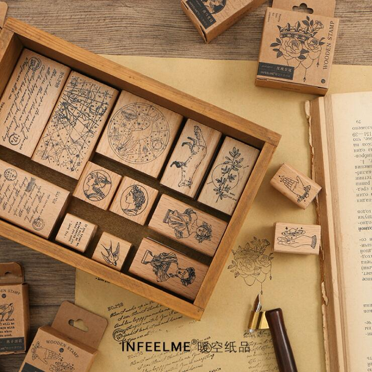 Retro Postmark Wood Stamp DIY Wooden Rubber Stamps For Scrapbooking Stationery Scrapbooking Standard Stamp