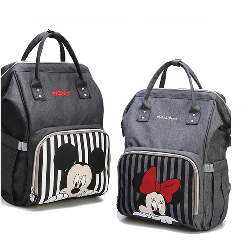 Diaper Bag Backpack Maternidade Waterproof Stroller Bag Baby Bottle Warmer Mickey Minnie Travel Backpack baby bags