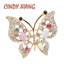 free shipping elegant rhinestone butterfly brroch pins for women fashion jewelry wedding brooches gold plated 3 colors choose