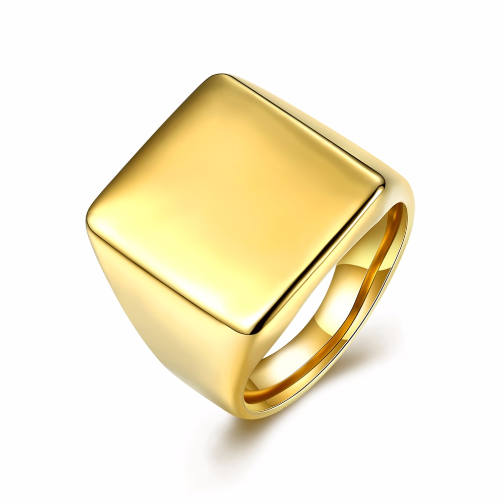 High Quality Square316L Stainless Steel Rings For Men Fashion Wedding Engagement Finger Ring Man R108