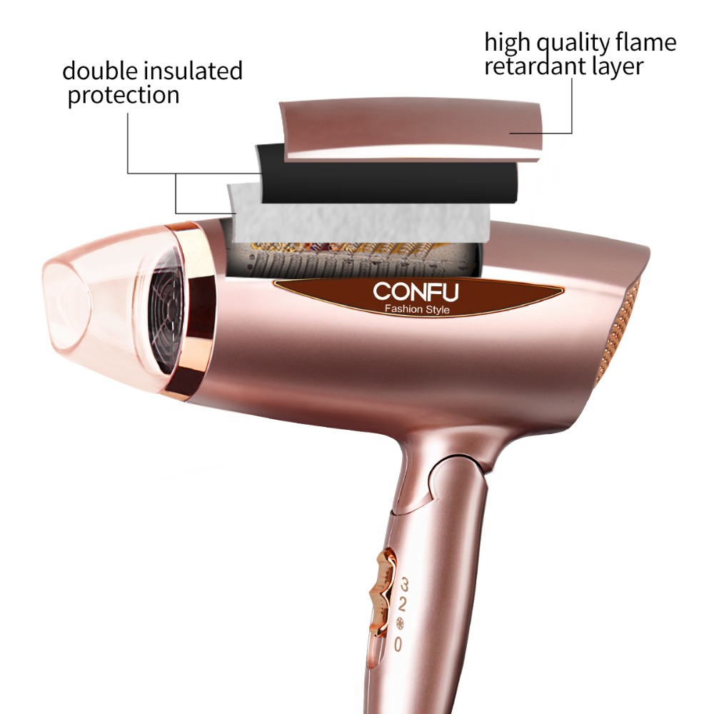CONFU Foldable handle Household Hair Dryer 220-240V 50Hz 1600-1800W Over heat protection system Hair Dryer with concentrator