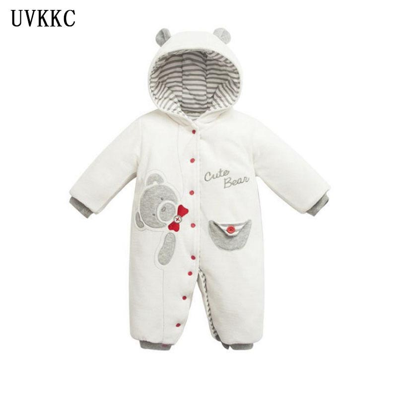 UVKKC 2017 NEW Baby Rompers Winter Thick Warm Baby boy Clothing Long Sleeve Hooded girls Jumpsuit Kids Newborn Outwear for 6-18M 2017 new baby rompers winter thick warm baby boy clothing long sleeve bebe girl hooded jumpsuit kids newborn outwear for 0 24m