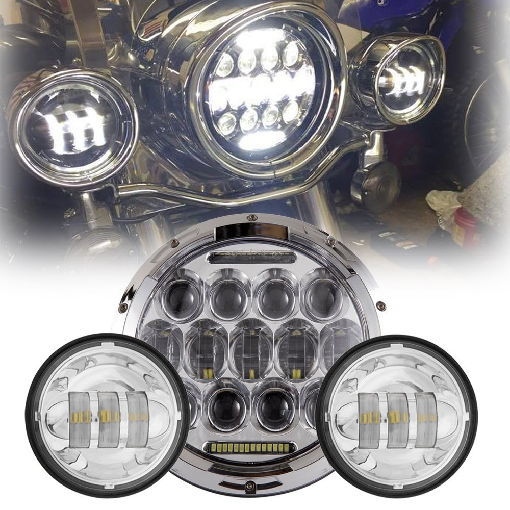 7 Inch LED Headlight Daymaker Projector 75W Hi/Lo Beam with 4.5 Inch Auxiliary Passing Fog Lights for Harley Davidson Motorcycle цена