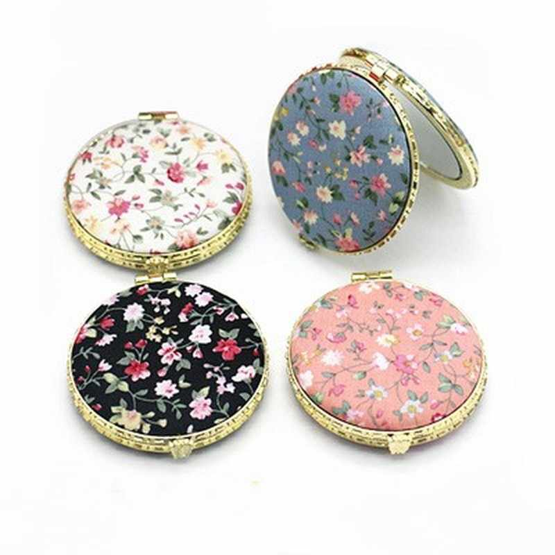1Pcs Mini Retro Makeup Mirror Makeup Compact Pocket Flower Mirror Portable Double-Sided Folding Cosmetic Mirror Female Gifts