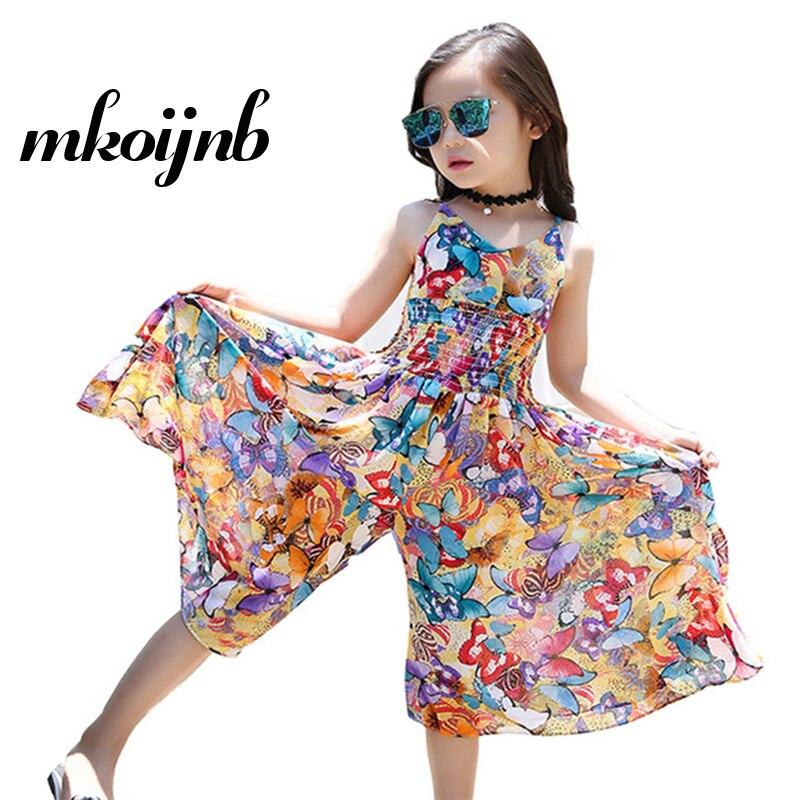 adf87606665 Girls Bohemian Dresses Kids Summer Floral Party Dresses Teens Clothing  Sleeveless Dress 2018 Children Jumpsuits 4