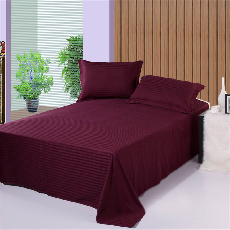 1pcs 100%Cotton Solid Color Flat Sheet Stripe Bedding Twin Full Queen King And Other Size