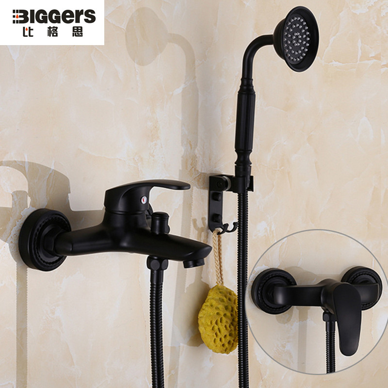 Free shipping Europe style black copper bathroom shower faucet set ...
