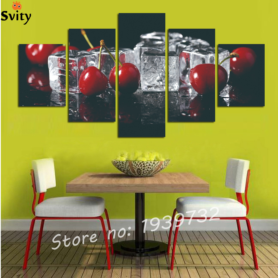 5 Panels Grapes and Cherry Painting Canvas Wall Art Picture Home ...