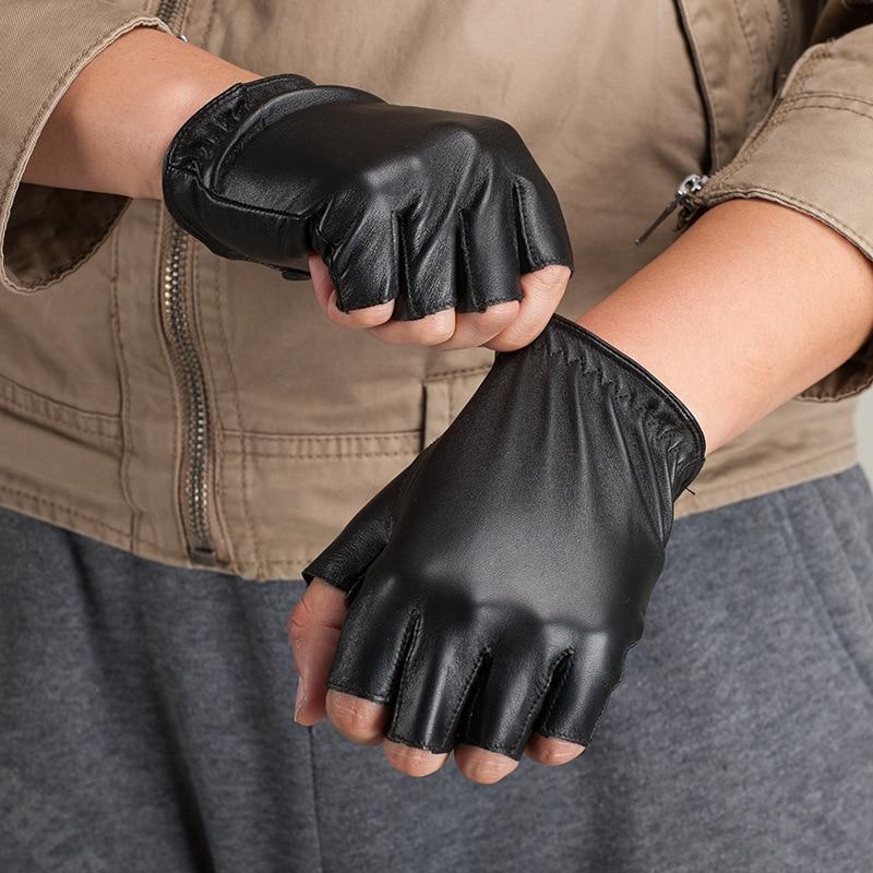 Italy Imports Fashion Men Half Finger Gloves Winter Spring Leather Gloves Warm Driving Gloves Sheepskin Gloves KU 065