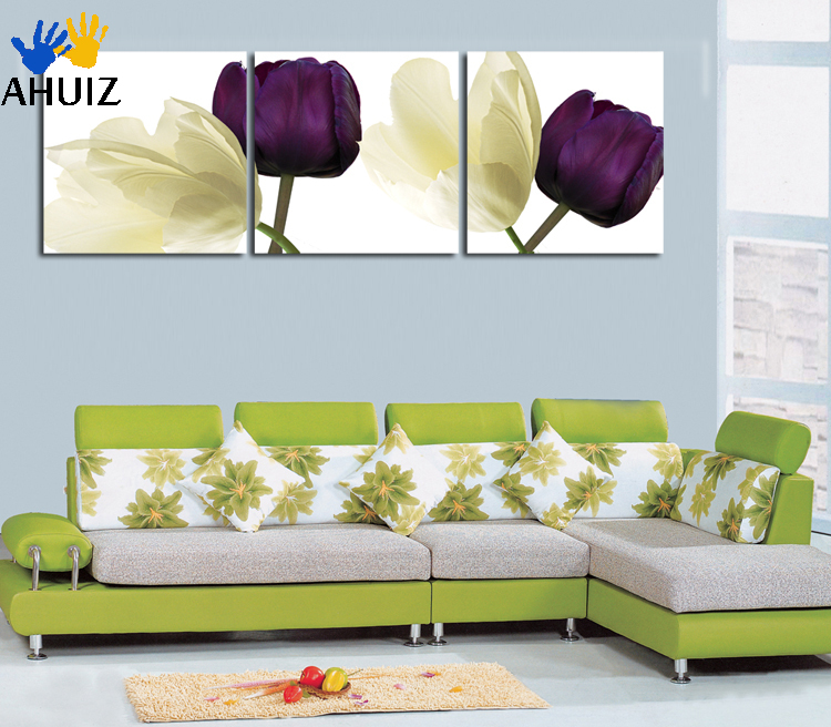 3 Piece Purple Cherry Blossom Muti Panel Abstract Modern: Cheap 3 Piece Hot Sell Modern Wall Painting Abstract