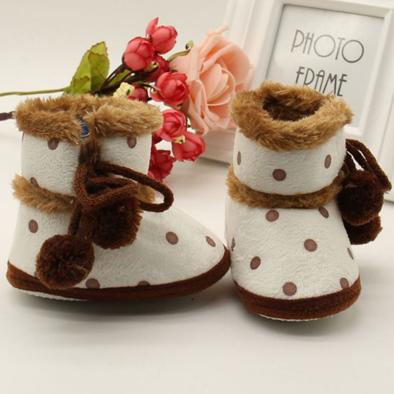 Winter Boots Soft Bottom Baby Moccasin Warm Boots Non-slip Booties For Baby Girls