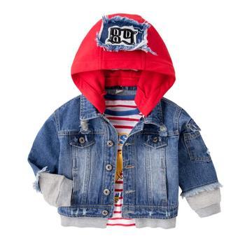 558b8e8a8 Niños deporte niños chaqueta de abrigo de los niños prendas de vestir  exteriores ropa de primavera y otoño Niño con capucha Jeans ropa para 2-8  años los ...