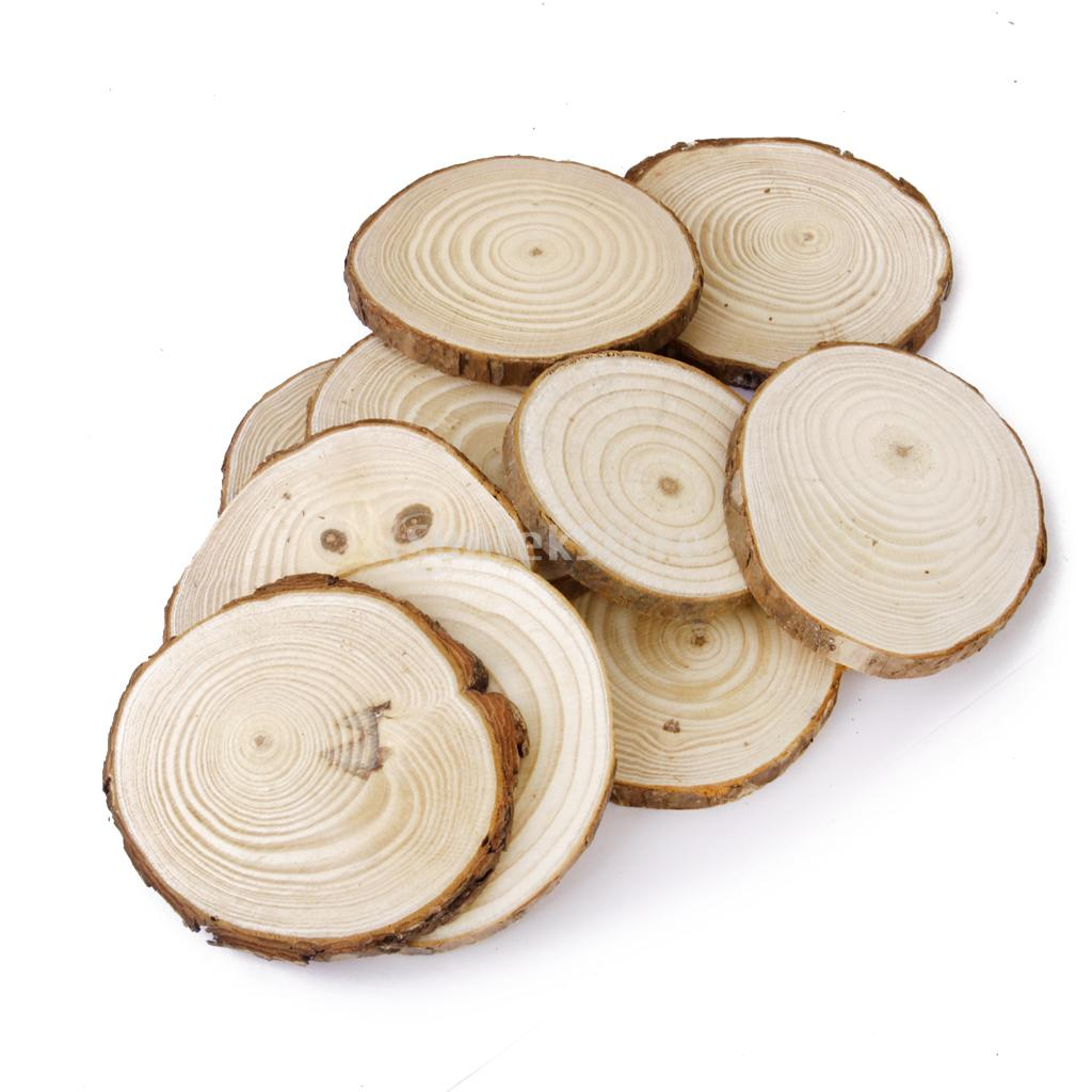 Phenovo Pine Wood Slices for DIY Crafts Wedding Decor 7 9cm 10pcs ...