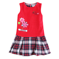 2015 Newest Design Sleeveless Embriodery Floral Piald Style Girl Winter Autumn Dresses Nova Kids Hot Slae
