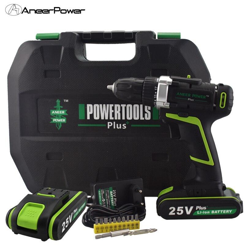 25 v Plus Outils Électriques Outil Rotatif Sans Fil Mini Perceuse Électrique Perceuse À Main Mini 2 Batteries Pour Tournevis Rechargeable Batterie