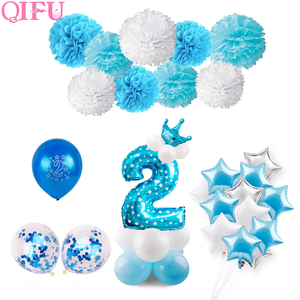QIFU Blue Boy 2nd Birthday Decoration Pink Girl 2 Balloons Number Ballon Year Old Party Decorations Kids