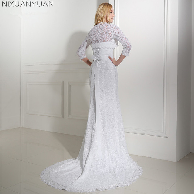 Elegant 2019 New Shares of Women Girls 3/4 Long Sleeve White Lace Shoulders Cropped Bolero