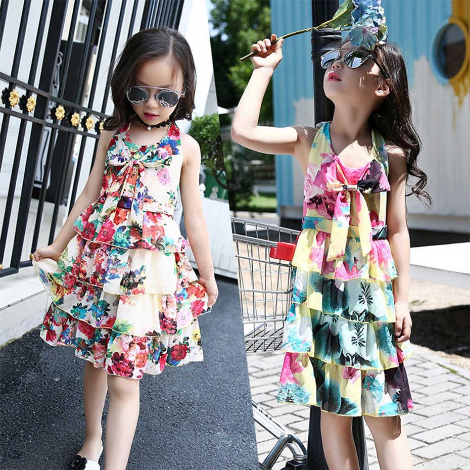 Платье для девочек-подростков; летнее платье принцессы с цветочным рисунком для девочек-подростков; одежда для детей 6, 8, 10, 12 лет