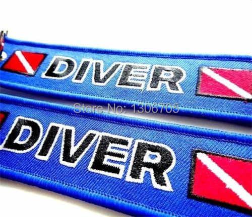 Diver Down Vlag Geborduurde Scuba Sleutelhanger Tag