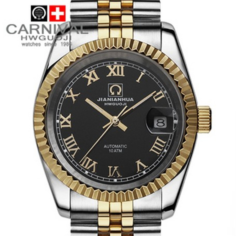 Carnival gold luminous waterproof military diving sports mens automatic mechanical watch full steel luxury brand watches
