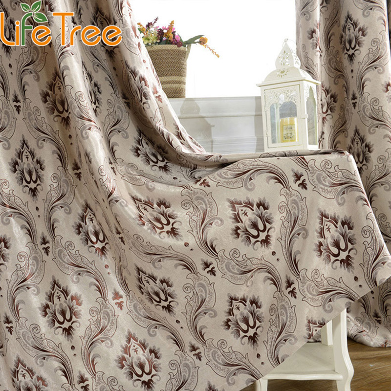 Coffee Thick font b Curtains b font For Living Room Yellow Jacquard Drapes In Living Room