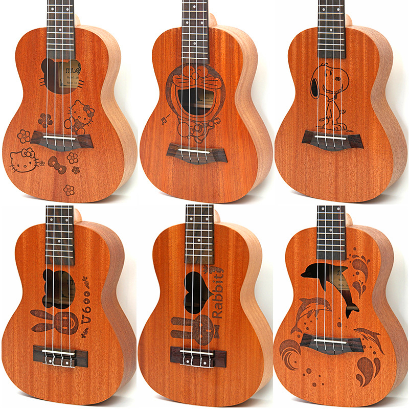 21 inch 4 strings Hawaiian Ukulele soprano uke Small Guitar Cartoon Patterns Kids Gift Sapele Ukulele Rosewood Fingerboard hawai soprano ukulele neck for 21 inch ukelele uke hawaii guitar parts luthier diy sapele veneer pack of 5