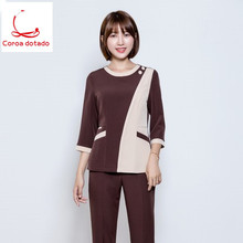 New winter wear beautician overalls set long sleeve Korean version plastic cosmetic medical care uniform dress
