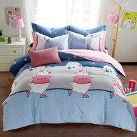 Papa & Mima Trượt Tuyết gấu in bedlinens cao chất chà nhám vải cotton Nữ Hoàng King size duvet cover giường có đặt b