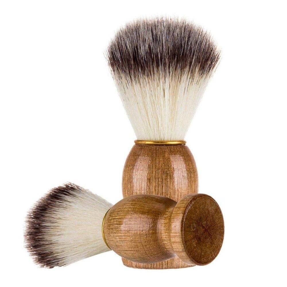 Portable Badger Hair Men Shaving Beard Brush Facial Beard Cleaning Appliance Shave Tool Razor Brush Bristle Wood Handle Salon