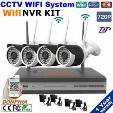 1.0MP 720 P Беспроводной WI-FI IP CCTV Камеры Безопасности 4CH NVR Система P2P Комплект Wi-Fi Ip-камеры Nvr комплект для домашнего офиса factory безопасности