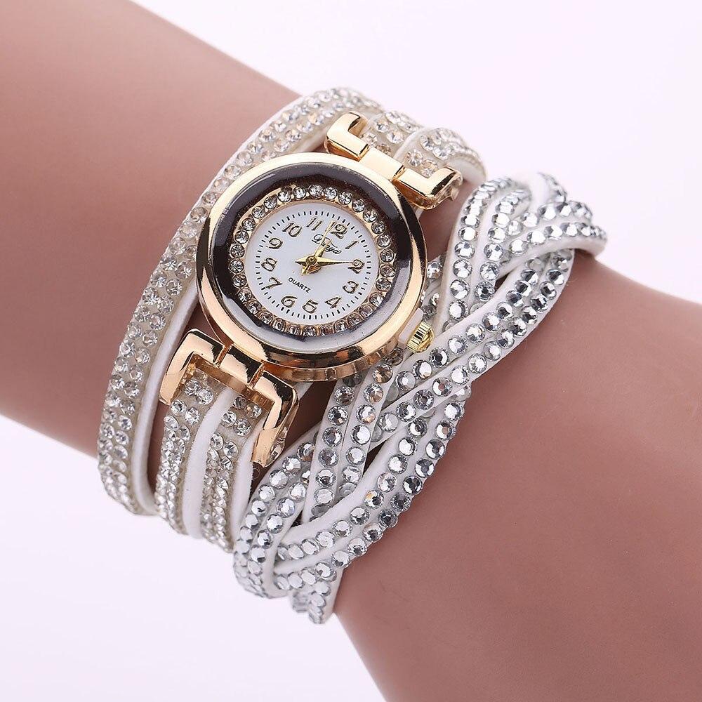 New Women'S Watch Ladies Luxury Crystal Bracelet Quartz Watch Rhinestone Clock Ladies Dress Gift Watch Montre Femme Kol Saati#W