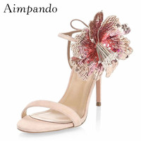 Shiny Sequined Flower Gladiator Sandals Women Thin Heel One strap Back Lace up Beading Crystal Sequins Summer Shoes Woman
