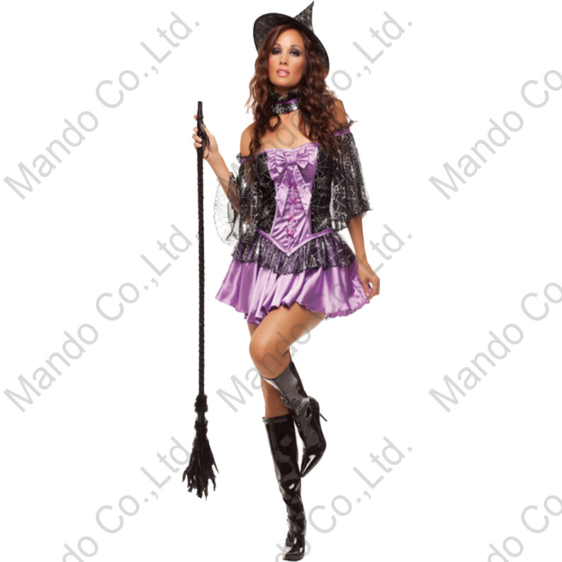 POLYESTER Purple Women Sexy Witch Cosplay Dress halloween costume outfit with hat Set suit