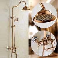 Xogolo Ванная комната Роскошные смеситель для душа набор 8 дождь Showerhead, приходя с рук спрей, розовое золото Цвет, круглое смеситель для душа наб