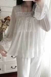 Image 4 - Unikiwi. conjuntos de pijama de lolita feminino. topos de renda + calças compridas. conjunto de pijamas de malha de menina de senhoras vintage. roupa de dormir vitoriana loungewear