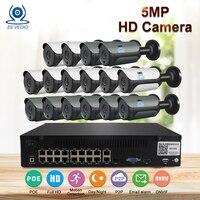 ZSVEDIO H.265 5MP 2592*1944 система наблюдения CCTV 48 V PoE 16CH NVR комплект 5MP Пуля IP Камера водонепроницаемый уличный для видеонаблюдения Камера