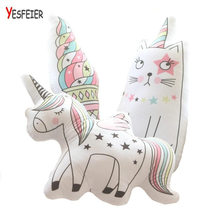 Cartoon Animal Toy unicorn cat plush pillow soft unicorn horse cushion plush toys New st ...