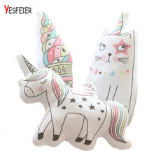 Cartoon Animal Toy unicorn cat plush pillow soft unicorn horse cushion plush toys New style doll(China)