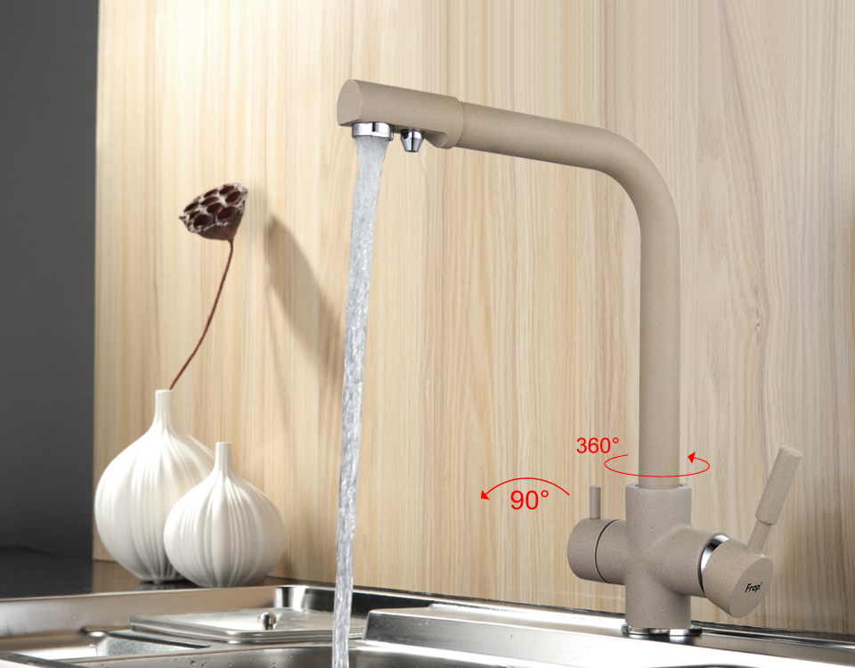 US $58 75 50% OFF|Frap New Arrival Khaki Color Kitchen Faucet Deck Mounted  Mixer Tap 180 Degree Rotation with Water Purification Features F4352 20-in