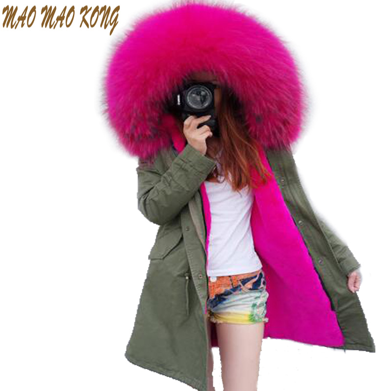 Women Winter Parka Fur Jacket Long Fashion army green Coats Thick Large Real Raccoon Fur Collar Detachable Fur Liner Women Cloth new 2017 jott jacket winter women parka long coat large real raccoon fur collar faux rabbit fur liner army green casual outwear