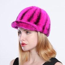 Новый Осень Зима родитель-ребенок женщин девочка мальчик дети норки шляпа леди красочные роскошный реального норки меха бейсбольная кепка шляпа