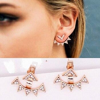 E0430 New Leaf Rhinestone Stud Earrings For Women Triangle Double Sided Earrings Statement Ear Jewelry Exquisite Gift Wholesale gold earrings for women
