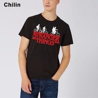 Chilin Brand Stranger Things T Shirt Man Riding Bike T Shirt Male Short Sleeve Printing Tshirt
