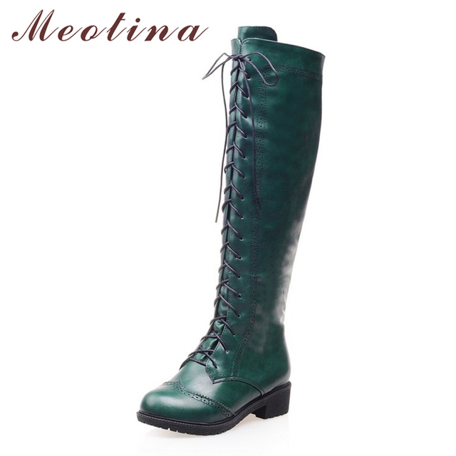 Hot Sale Lace Up Women Motorcycle Boots Knee High Boots Shoes Zipper Round Toe Low Square Heels Ladies Riding Boots Green Brown