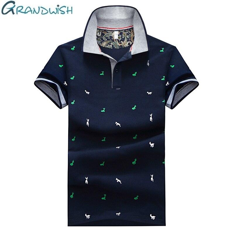 Grandwish  New Polos Men Printed Polo Shirts Turn-down Collar Men's Polo Shirt Deer Printing Mens Polo Shirt Brands ,DA663