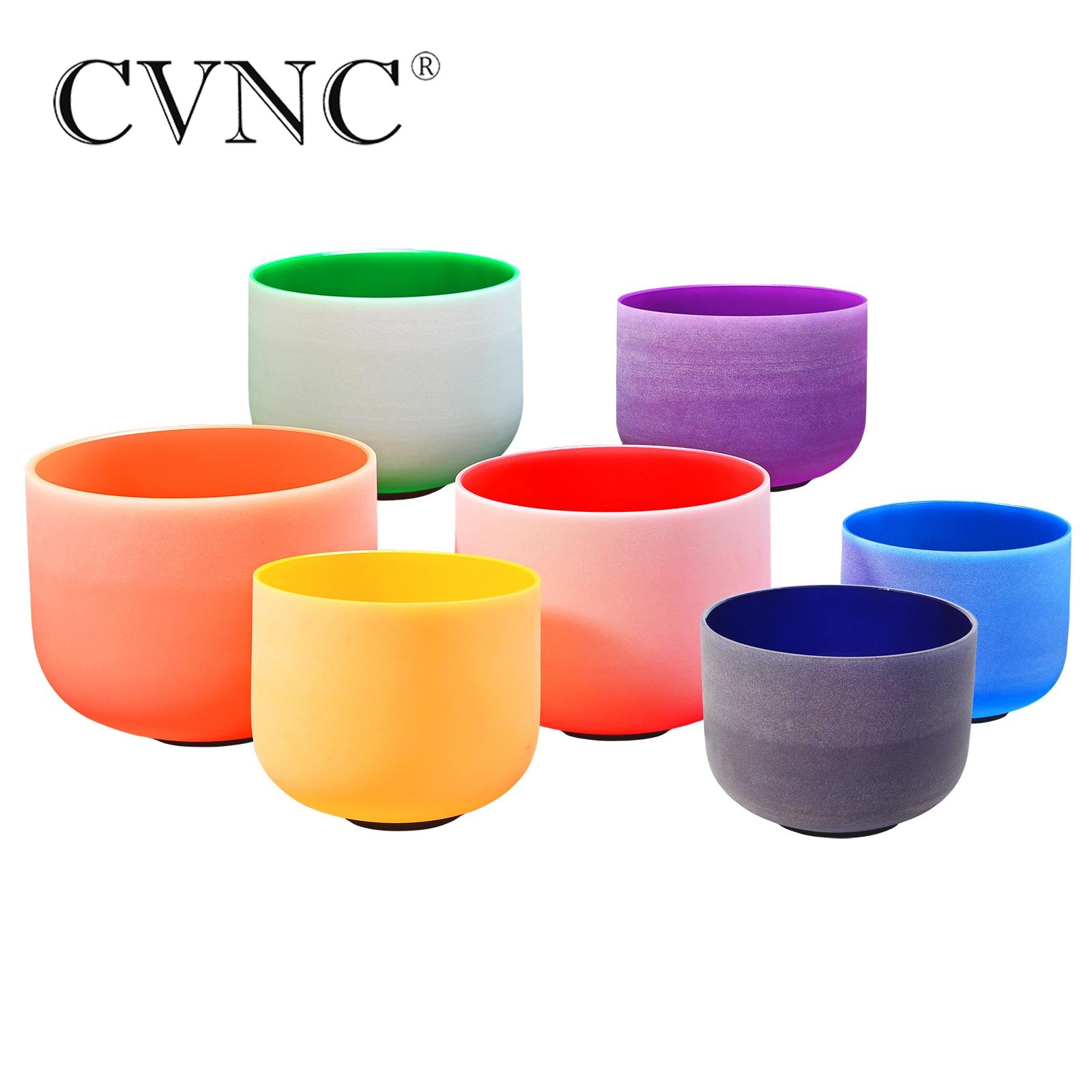 CVNC 8-10 Chakra Tuned Set of 7pcs  Note CDEFGAB Colored Frosted Quartz Crystal Singing Bowl